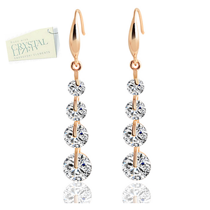 High Quality 18k White Gold / Rose Gold Plated Long Earrings with Brilliant Swarovski Crystals