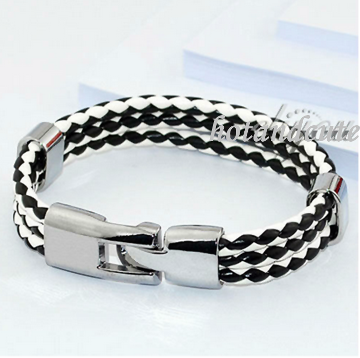 Trendy Leather with Stainless Steel Bracelet