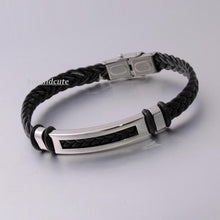 Load image into Gallery viewer, Stylish Black Leather and Stainless Steel Men's Bracelet