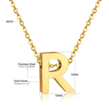 Load image into Gallery viewer, Stainless Steel 316L Yellow Gold Plated Necklace with Letter Initial Pendant
