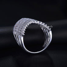 Load image into Gallery viewer, White Gold Plated Wish Bone  Ring with Brilliant Swarovski Crystals
