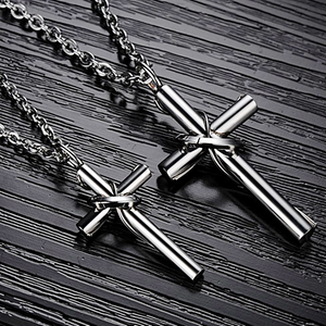 Stylish Stainless Steel 316L Cross Pendant and Necklace 2 sizes