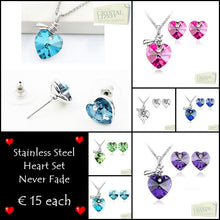 Load image into Gallery viewer, Swarovski Crystals Stainless Steel 316L Heart SET Necklace Matching Earrings