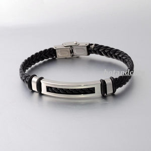 Stylish Black Leather and Stainless Steel Men's Bracelet