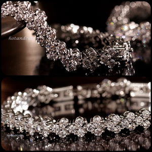 18k White Gold Plated Tennis Bracelet with Swarovski Crystals