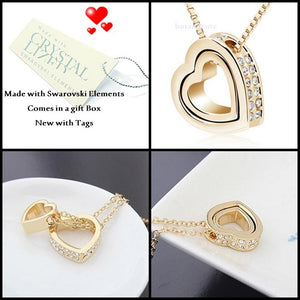 Yellow Gold Plated Double Heart Necklace with Swarovski Crystals