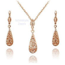 Load image into Gallery viewer, 9k Rose Gold Plated Drop Filigree Set Earrings Necklace Pendant