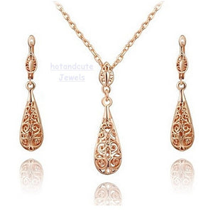 9k Rose Gold Plated Drop Filigree Set Earrings Necklace Pendant