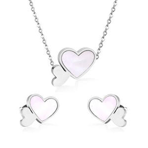 High Quality Stainless Steel 316L Heart SET with Shell Necklace Earrings