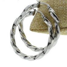 Load image into Gallery viewer, Stainless Steel Yellow Gold Silver Hoop Loop Earrings Hypoallergenic