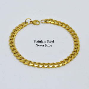 Solid Stainless Steel 316L Gold Plated Curb Chain Bracelet