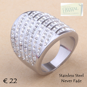 High Quality Stylish Stainless Steel 316L RING with Sparkling Swarovski Crystals