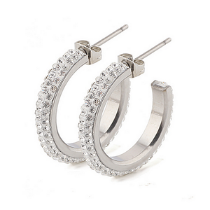 High Quality Stainless Steel 316L Hypoallergenic Loop Earrings with Swarovski Crystals