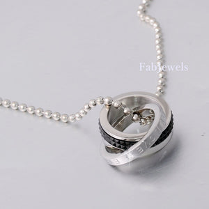 Stainless Steel Double Ring Stylish Men's Love Pendant and Necklace