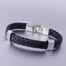 Load image into Gallery viewer, Black Leather with Stainless Steel Fashionable Bracelet
