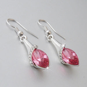 Platinum Plated Earrings with Pink Swarovski Crystals