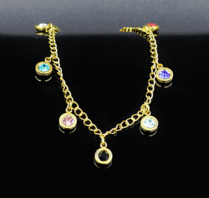 Yellow Gold Plated on Stainless Steel Anklet Ankle Chain with Charm Crystals