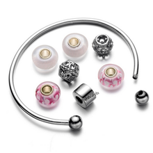 Load image into Gallery viewer, 316L Stainless Steel Lucky Charm Adjustable Bangle with Pink Murano Glass Charms