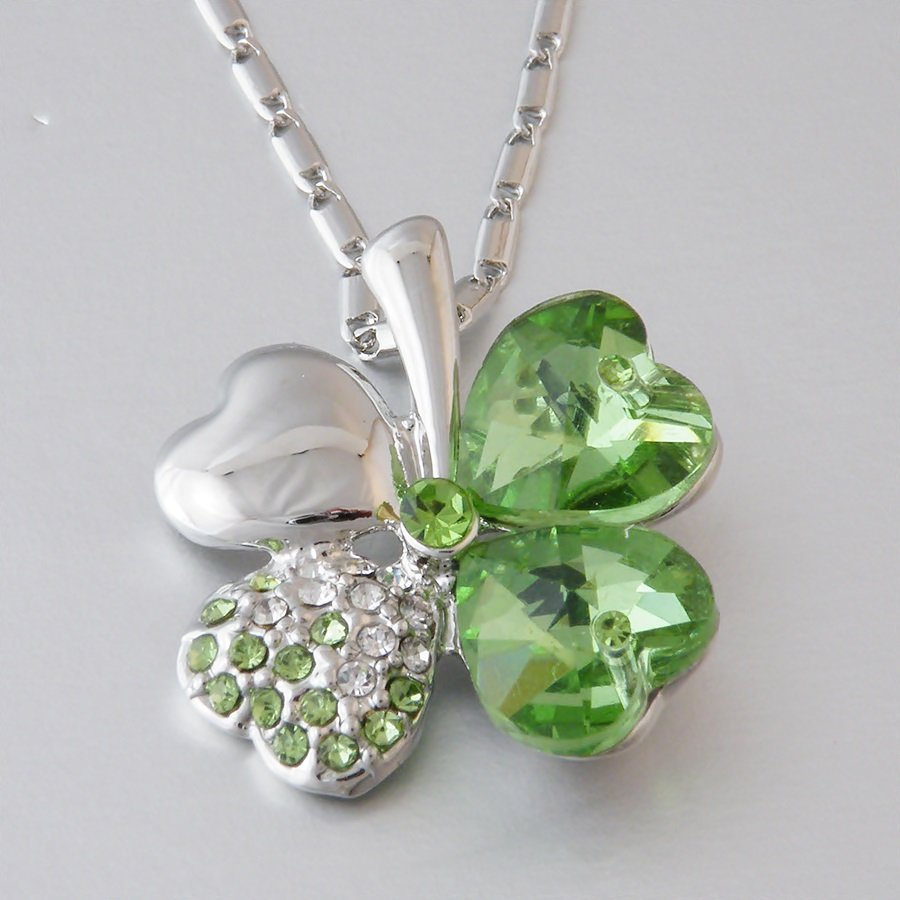 Swarovski Crystal Heart Flower Shape Green Pendant and Necklace