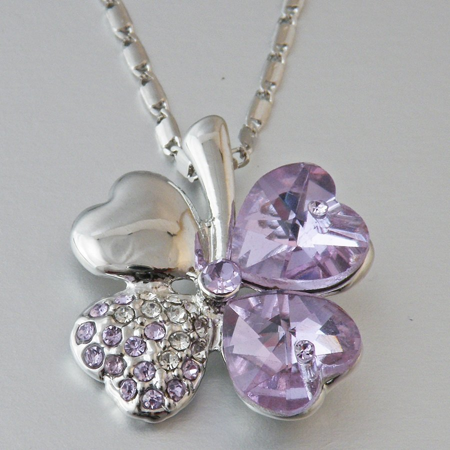 Swarovski Crystal Heart Flower Shape Lilac  Pendant and Necklace