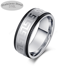 Load image into Gallery viewer, Solid Stainless Steel Silver and Black Ring