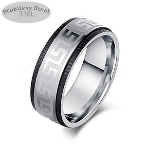 Solid Stainless Steel Silver and Black Ring