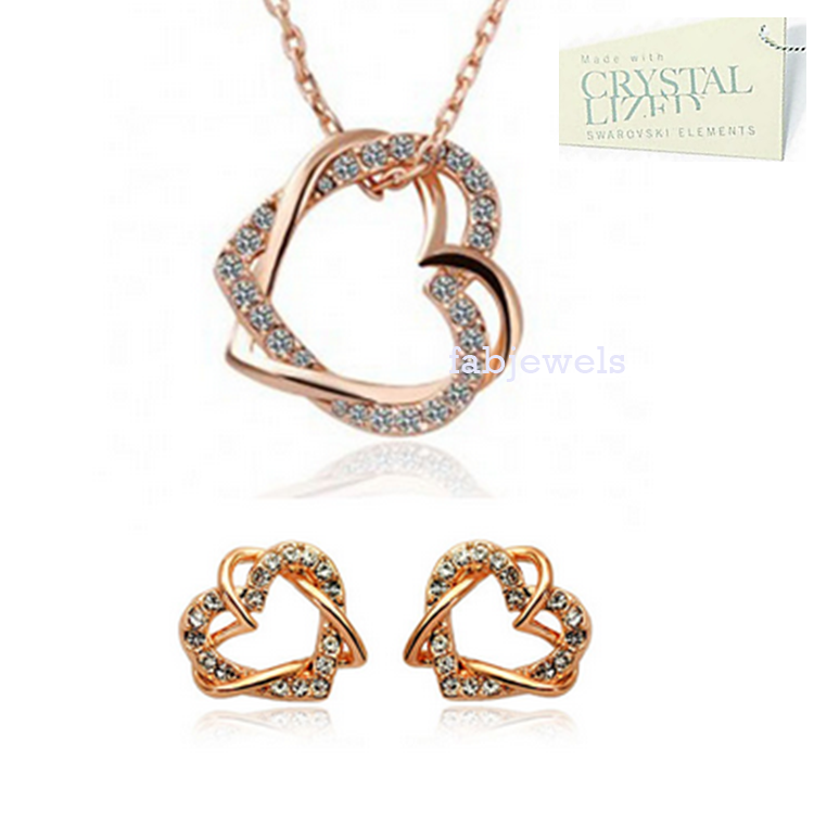 Love Heart Set in White/ Rose Gold Plated with Swarovski Crystals Necklace Pendant Earrings