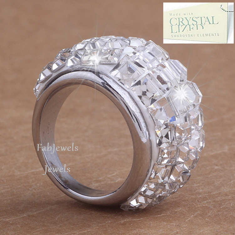 High Quality Stainless Steel 316L Ring with Swarovski Crystals