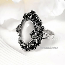 Load image into Gallery viewer, White Gold Plated Ring with Mother of Pearl and Marcasites Stones