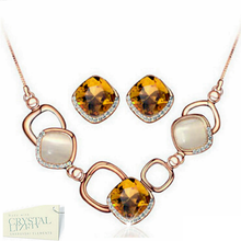 Load image into Gallery viewer, Stunning Gold Plated 2 Piece Set Necklace and Earrings with Swarovski Crystals