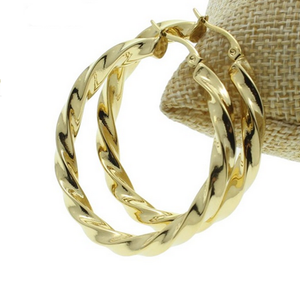 Stainless Steel Yellow Gold Silver Hoop Loop Earrings Hypoallergenic