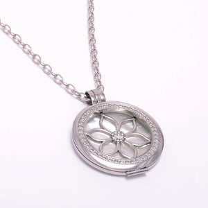 Stainless Steel 316L Interchangeable My Coin Holder Necklace Flower Shell Disc Set