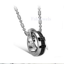 Load image into Gallery viewer, Stainless Steel Double Ring Stylish Men's Love Pendant and Necklace
