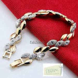 18ct Yellow Gold Plated Set Earrings Necklace Bracelet with Swarovski Crystals