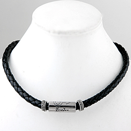 Trendy Leather and Stainless Steel Men's Necklace