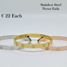 Load image into Gallery viewer, Stainless Steel Yellow/ Rose Gold Plated Silver Bangle Bracelet with Swarovski Crystals