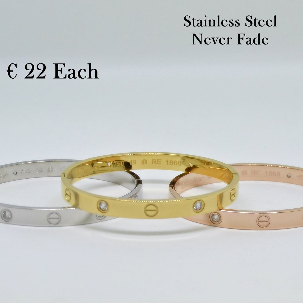 Stainless Steel Yellow/ Rose Gold Plated Silver Bangle Bracelet with Swarovski Crystals