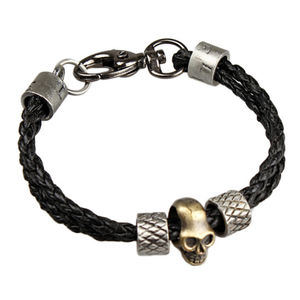 Black Leather and Stainless Steel Skull Bracelet