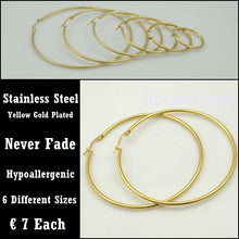 Load image into Gallery viewer, Stainless Steel Yellow Gold Plated Loop Earrings Hypoallergenic Different Sizes