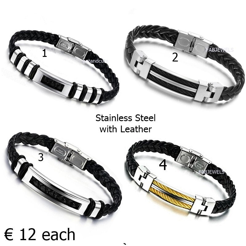 Stylish Black Leather and Stainless Steel Men's Bracelets