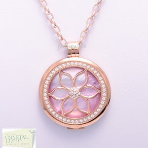 Stainless Steel 316L Rose Gold Plated Interchangeable My Coin Holder Necklace Flower Shell Disc Set