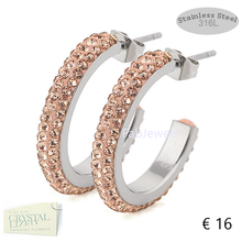 Load image into Gallery viewer, High Quality Stainless Steel 316L Hypoallergenic Loop Earrings with Swarovski Crystals