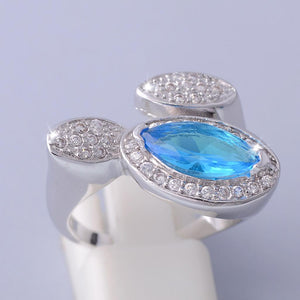 Platinum Plated Ring with Turquoise Swarovski Crystal