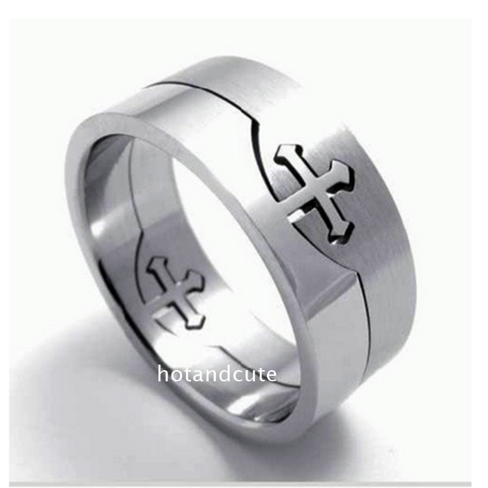 Stainless Steel Cross Men's Stylish Puzzle Ring
