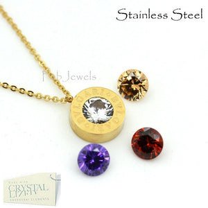 Stainless Steel Interchangeable Rose/White/Yellow Gold Plated Necklace with 4 Crystals