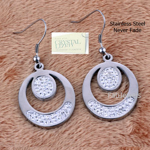 Stainless Steel Hypoallergenic Dangle Earrings with Swarovski Crystals