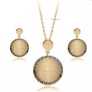 Yellow Gold Plated Set with Opal Gemstones Earrings Pendant and Chain