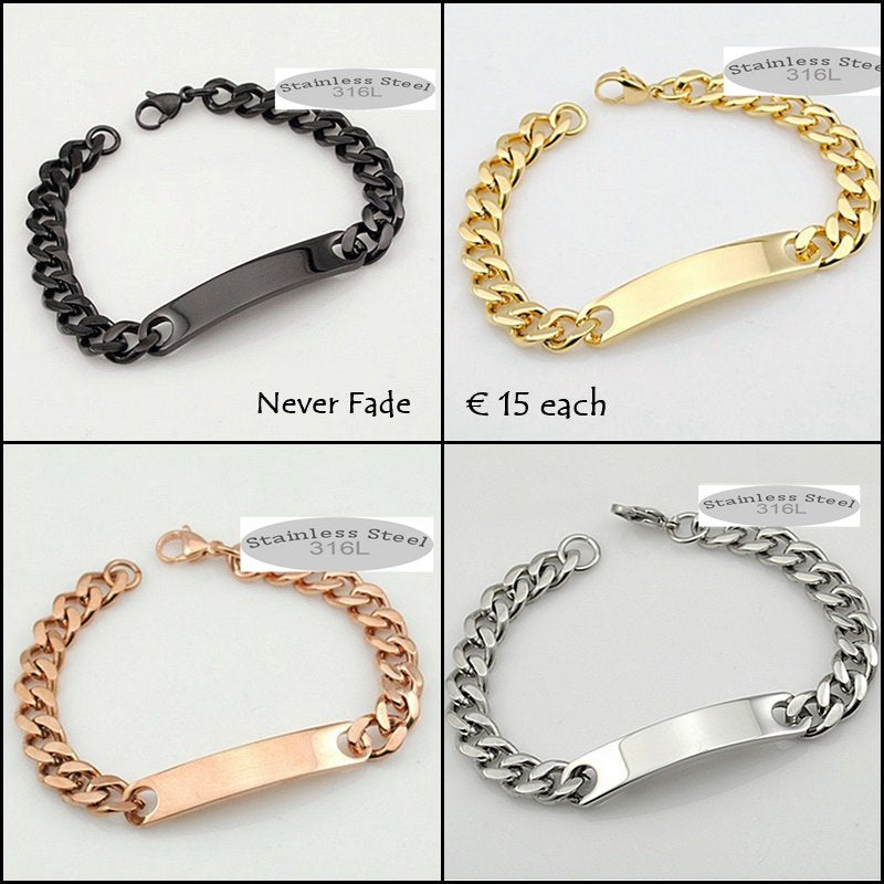 Stainless Steel Solid Id Bracelet Curb Chain Gold Plated