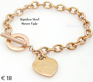 Stainless Steel 316L Toggle Bracelet with Heart Charm