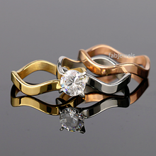 Load image into Gallery viewer, Stainless Steel 316L 3 in 1 Solitaire Ring with Swarovski Crystals